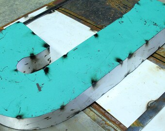 """Industrial Metal Letter J, 20"""" Recycled, Block Letter J Sign, 2-Tone Red & Teal, white sides"""