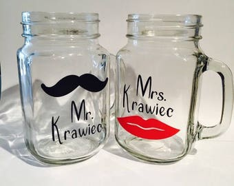 Personalized Mr & Mrs pint jars, mr and mrs, pint jars, personalized pint jars, wedding mugs