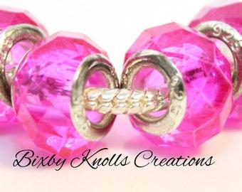 Fuchsia Glass Faceted Large Hole Bead for European Style Charm Bracelets