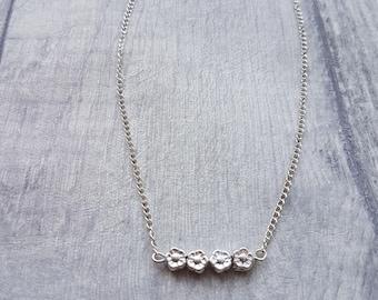 flower bar necklace, sliver flower necklace, flower charms