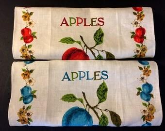 Parisian Prints Linen Tea Towel Red and Blue Apples Print