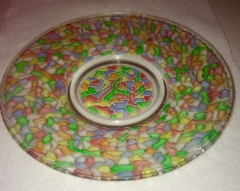 Stained glass mosaic plate