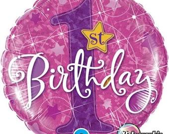 1st Birthday Girl Balloon- Pink First Birthday Balloon- Baby Girl Balloon