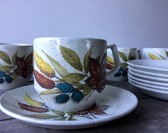 """Vintage Wood & Sons """"Autumn"""" Pattern Cups and Saucers"""