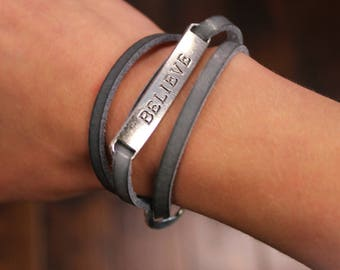 Believe Leather Wrap Bracelet