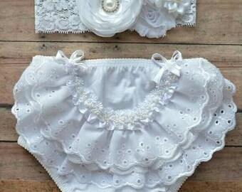 white bloomer set - baptism baby bloomer - baby bloomer - white diaper cover - baby girl gift - girl headband - baptism headband