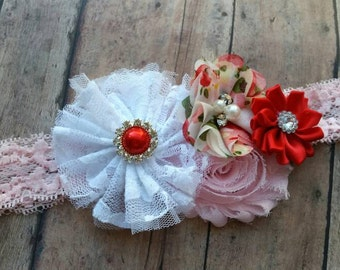 Valentines headband - baby Valentines headband - girl red and pink headband - spring headband - baby girl gift - tea party headband
