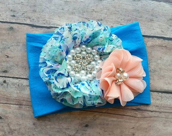 Baby spring nylon headband - blue floral headband - nylon headband - newborn headband - toddler nylon headband - baby shower gift