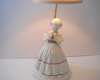Victorian Girl Lamp Pink and White