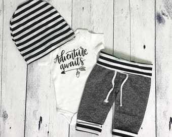 Adventure Awaits Coming Home Outfit Baby Boy Outfit Newborn Boy Take Home Outfit Coming Home Set Adventure Outfit Take Me Home Set