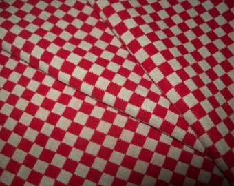A former fabric or vintage checkered red and white