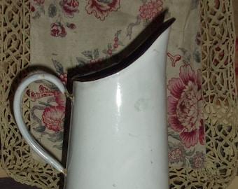 pitcher vintage white enamel jug, water jug