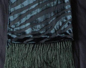 Green Fringed Devore Burnout Velvet Scarf Shawl Wrap