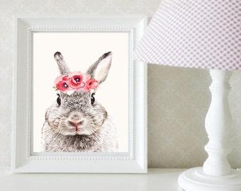 Floral Bunny Nurery Digital Download Print