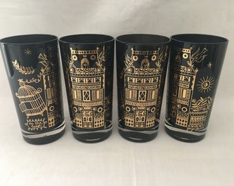 On The Loose Georges Briard Signed Highball Tumblers - Hard to Find Mid Century Glass