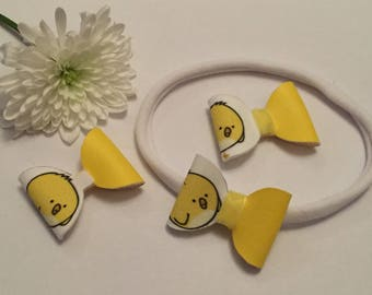 Easter chick yellow girl baby childrens hair bows headbands