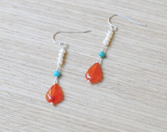 carnelian with natural turquoise and freshwater pearl sterling silver earrings