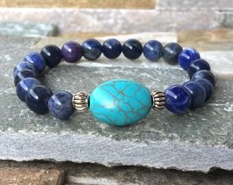 Energy bracelet Sodalite turquoise Buddha mala bracelet