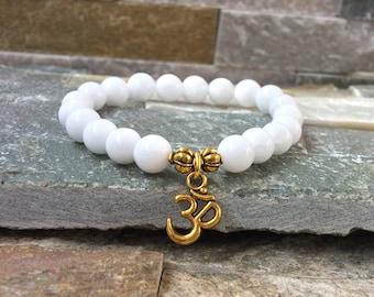 OM wrist mala bracelet jade gold harmony