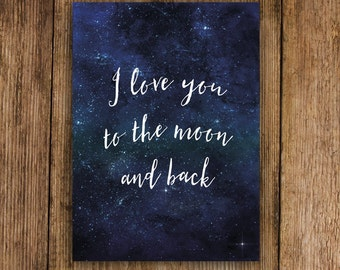 "Postcard ""i love you to the moon and back"", post card valentine, Valentine, Valentine's day"