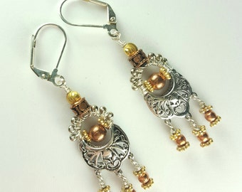 Silver gold copper chandelier dangle earrings