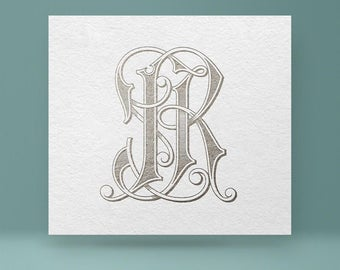 Vintage monogram JR - RJ | Wedding Monogram