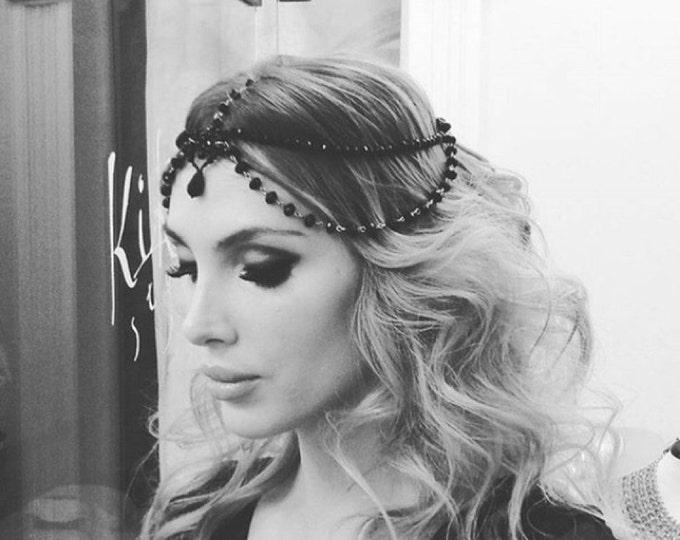 Great Gatsby Headpiece Evil Queen Crown Black goddess headpiece Halloween  Hair Accessory Bridal Gothic Chain Headpiece 9faaae7b5ae