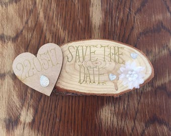 Rustic Save The Date Wedding Plaque