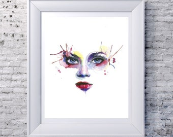 """Illustration woman face colored in watercolor 9 """"x 12"""" original and print formats to choose"""