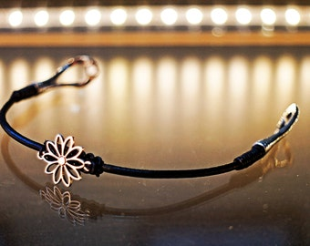 Flower Women Leather Bracelet gift for her girl girlfriend