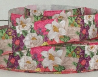 "7/8"" Lilly and Assorted Flowers - Grosgrain Ribbon"