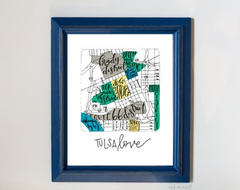 "PRINTED Hand-Lettered ""Tulsa Love"" Print"