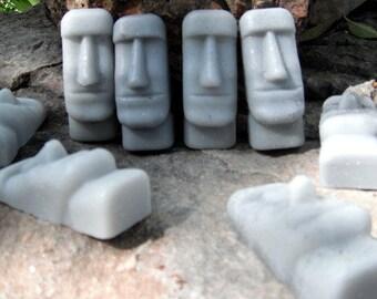 Small Handmade Hand-Painted Easter Island Moai Glycerin Soaps, set of five