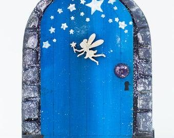 Tooth Fairy Door, Fairy Door, Night Time Fairy Door, Blue Fairy Door, Miniature Door, Magical Door, Fairy Themed Room,