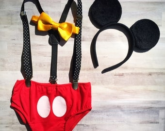 Mickey Mouse Cake Smash Outfit / Mickey Mouse Ears Smash Cake Set / Mickey Mouse Birthday Outfit Baby Boy / Mickey Mouse Suspenders Outfit