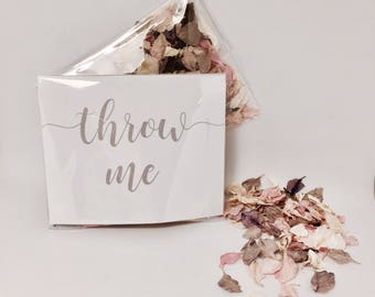 Flower petal confetti - pale pink and grey with off white petals - biodegradable - calligraphy 'throw me' packet - vintage weddings