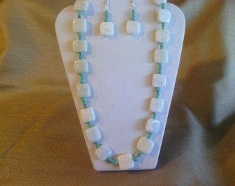 110 Fun Amazonite Squares and Magnesite Turquoise Heishi Beaded Necklace