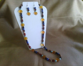 126 Long Necklace of Multicolored Agate, Pressed Czech Glass Beads and Magnesite Turquoise Beaded Necklace