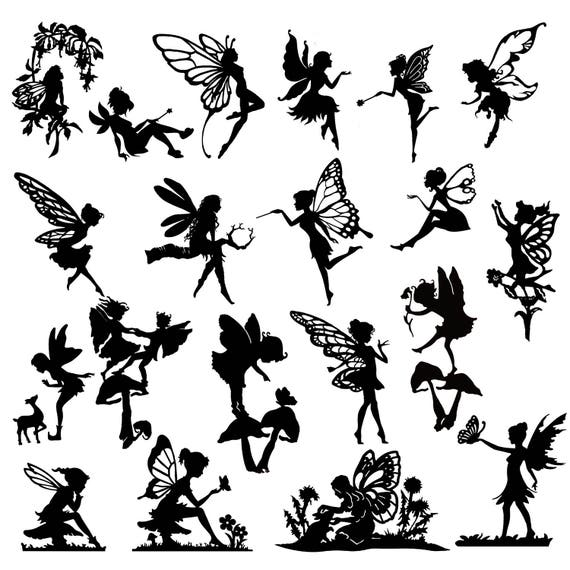 Detailed fairy die cut out silhouette 20 x fairies and a for Fairy cut out template