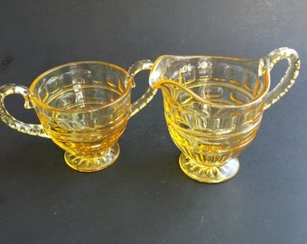 Vintage yellow glass sugar and creamer amber glass creamer and sugar set