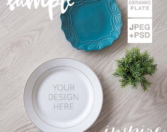 Ceramic Plate Mockup / Stock Photography / Gallery wall Mockup / PSD + smart object / Decorative plate mockups / Overlay design / Blog photo