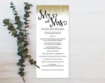 DIY Wedding Program Templates Printable, DIY Printable Wedding Program Template, Wedding Program Templates, Print on Kraft Paper Program
