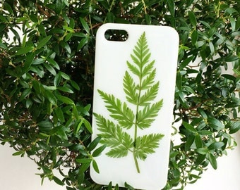 White case for iPhone SE • Glance white iPhone 5 s case with real pressed leaf • Phone case with dried fern • Plant phone case • Simple case