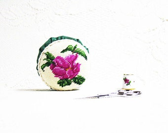 Pincushions, Floral Pincushions, Decorative Pincushions, Needlework Pincushion, Sewing Accessories, Floral Needlepoint Pincushion, Wild Rose