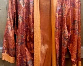 Vintage Just Me Brand Designer Open Front Jacket Silky Flowy Size Large