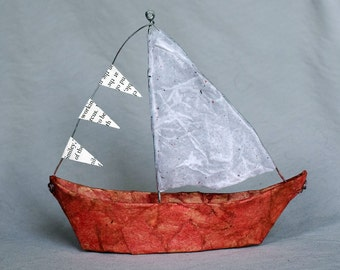 Paper Mache Wire Toy Boats - Red, Handmade Sailboats