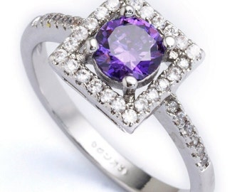 White and purple CZ diamonds ring