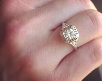 1920s Edwardian/Art Deco Vintage Engagement Ring, .60 Carat Transitional Cut Diamond, 14k White Gold Antique Engagement Ring, Bezel Setting