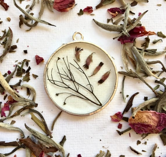 Stem and heather bud necklace