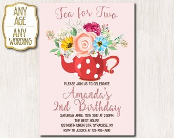 Tea for two birthday invitations, Tea party invitations, 2nd birthday invitation, Tea party birthday, Spring invitation, Spring flowers-1621